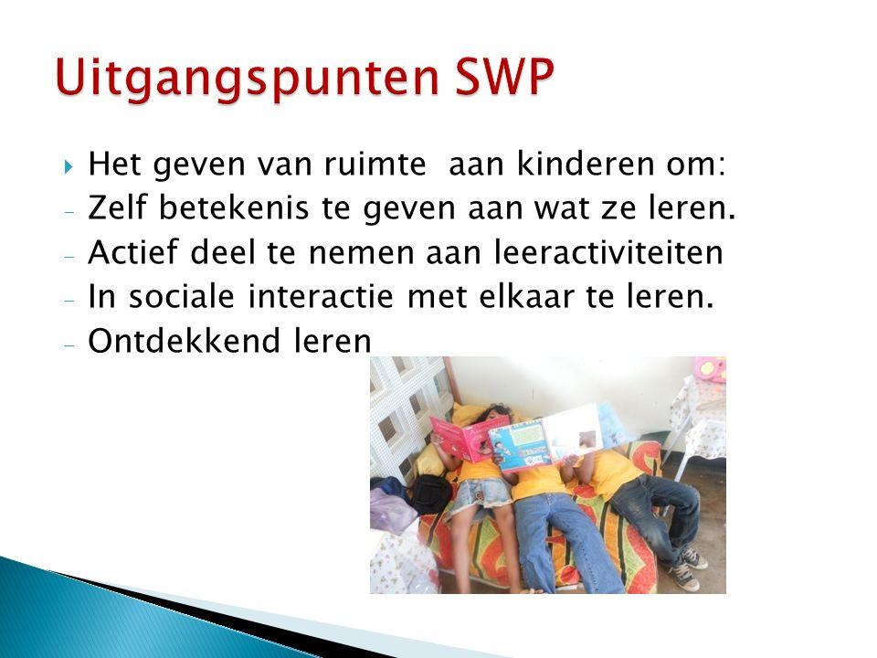 Uitgangspunten SWP Het geven van ruimte aan kinderen om: