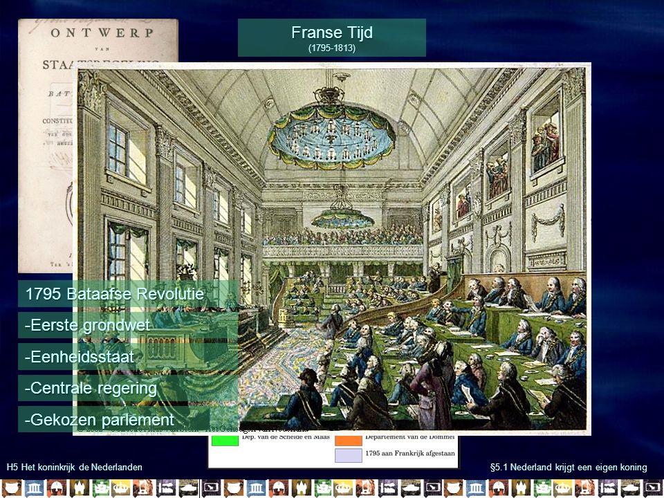 Franse Tijd (1795-1813) 1795 Bataafse Revolutie -Eerste grondwet