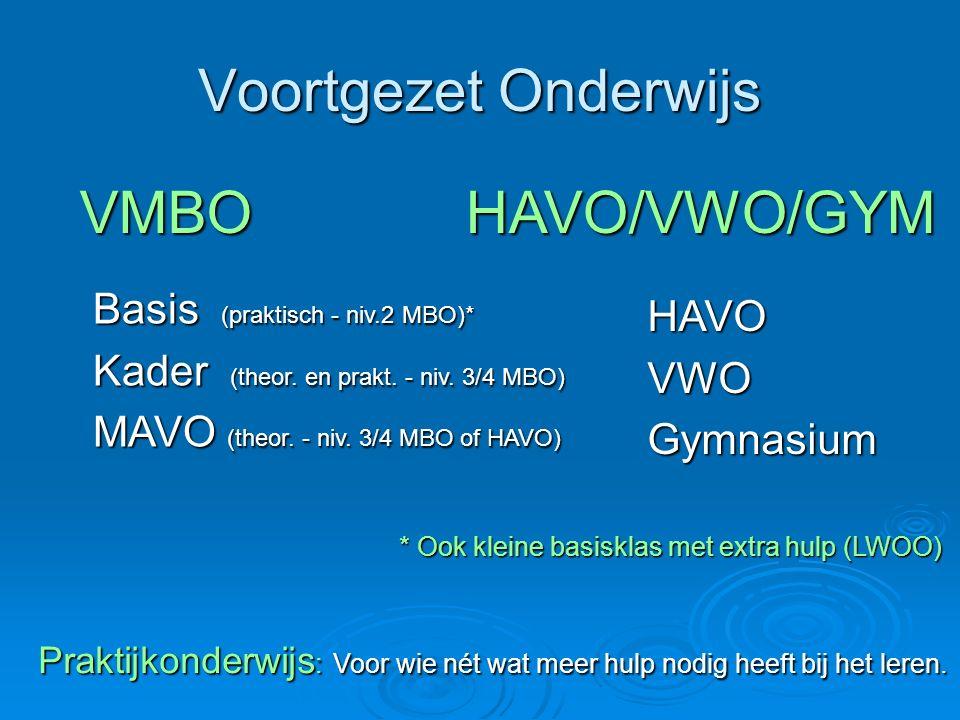 Voortgezet Onderwijs VMBO HAVO/VWO/GYM Basis (praktisch - niv.2 MBO)*