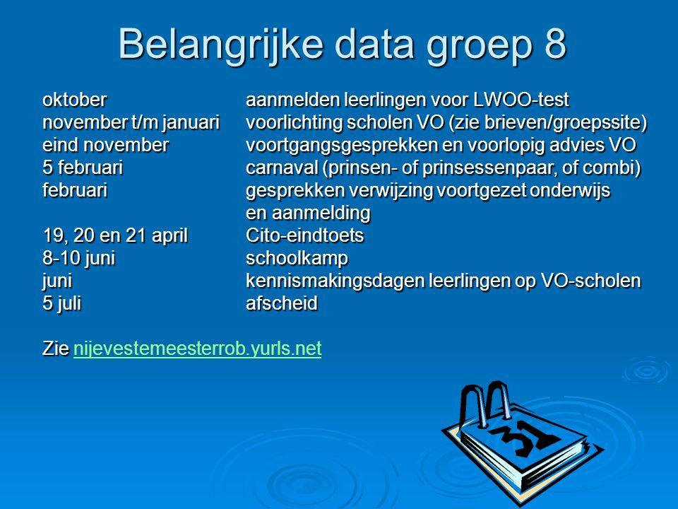 Belangrijke data groep 8