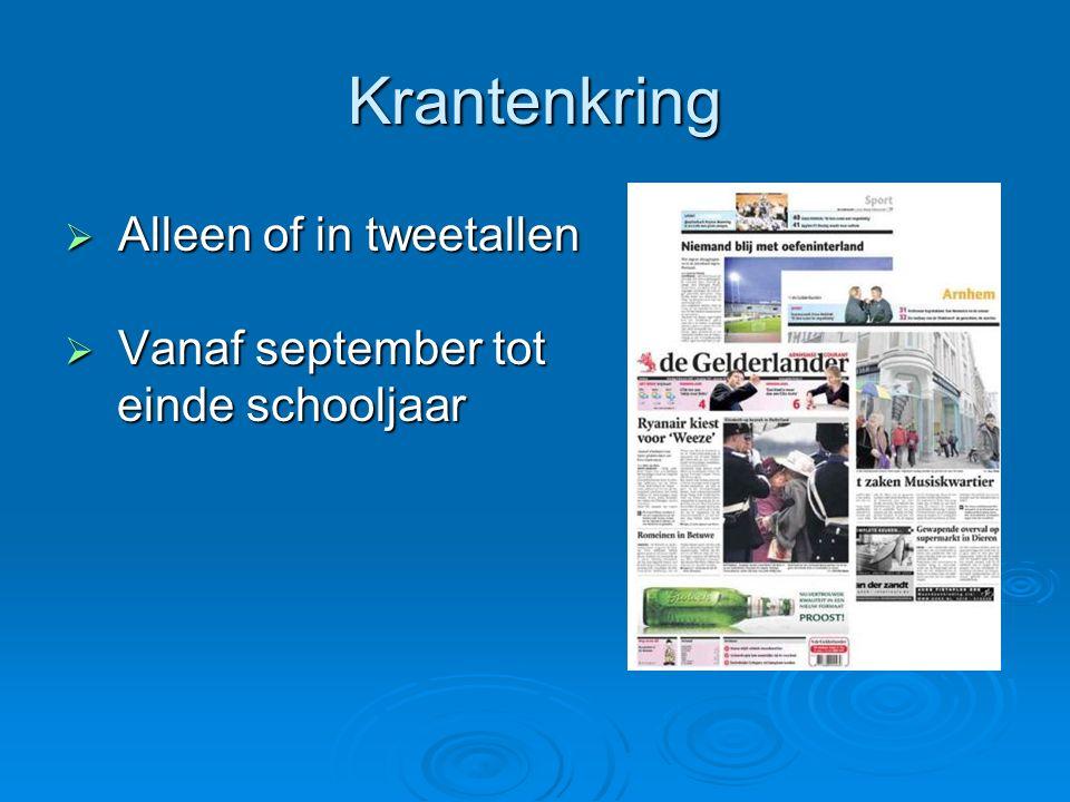 Krantenkring Alleen of in tweetallen Vanaf september tot