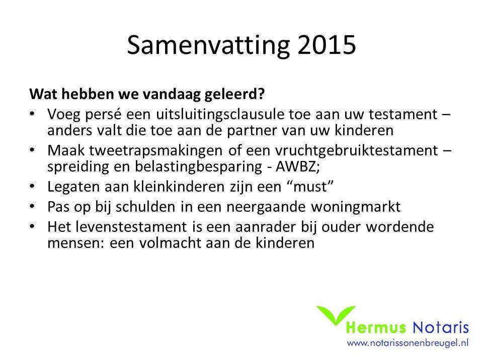 Samenvatting 2015 Wat hebben we vandaag geleerd