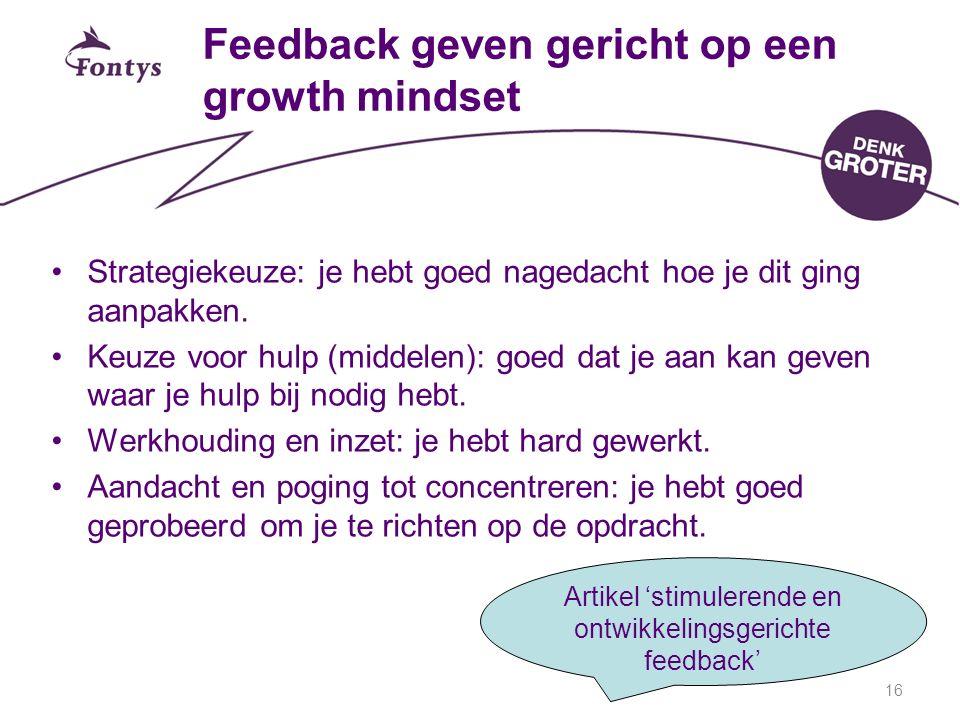 Feedback geven gericht op een growth mindset