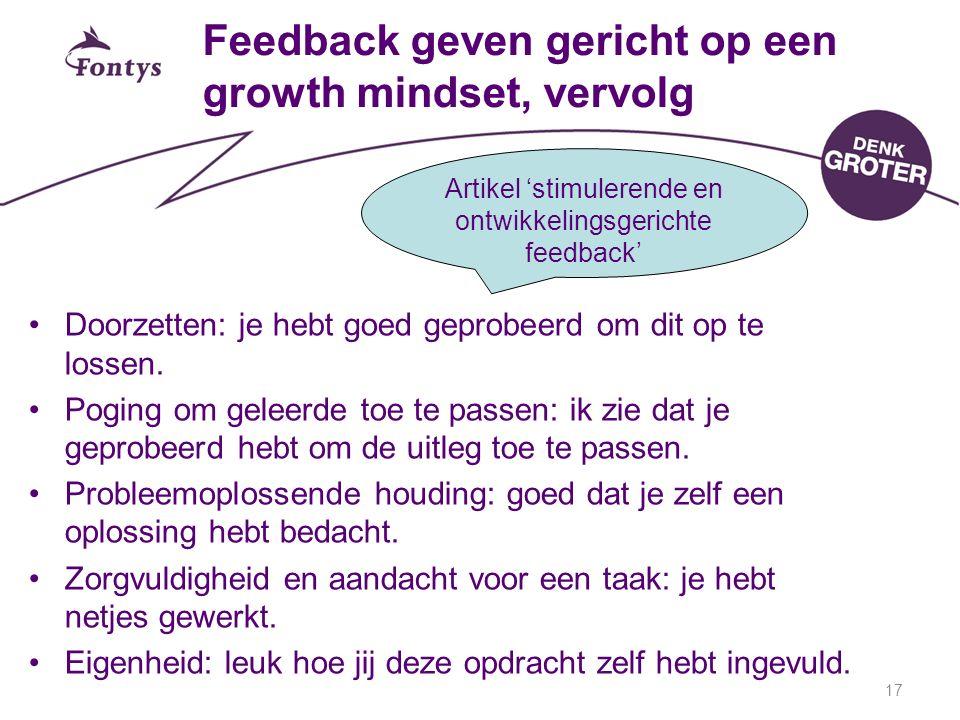 Feedback geven gericht op een growth mindset, vervolg