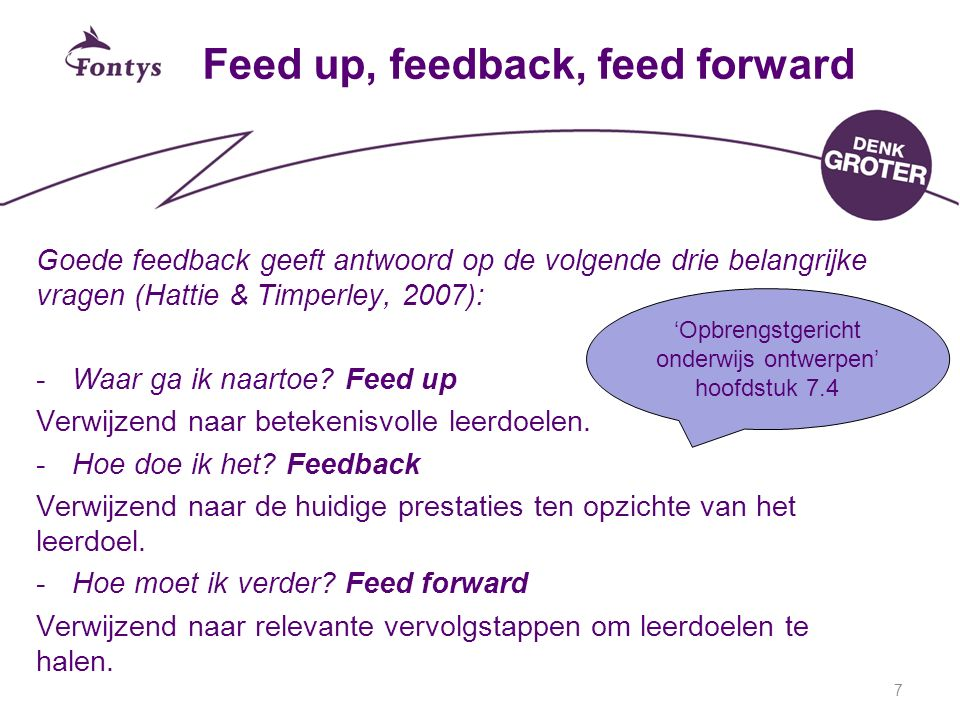 Feed up, feedback, feed forward