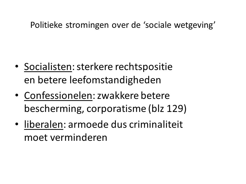 Politieke stromingen over de 'sociale wetgeving'