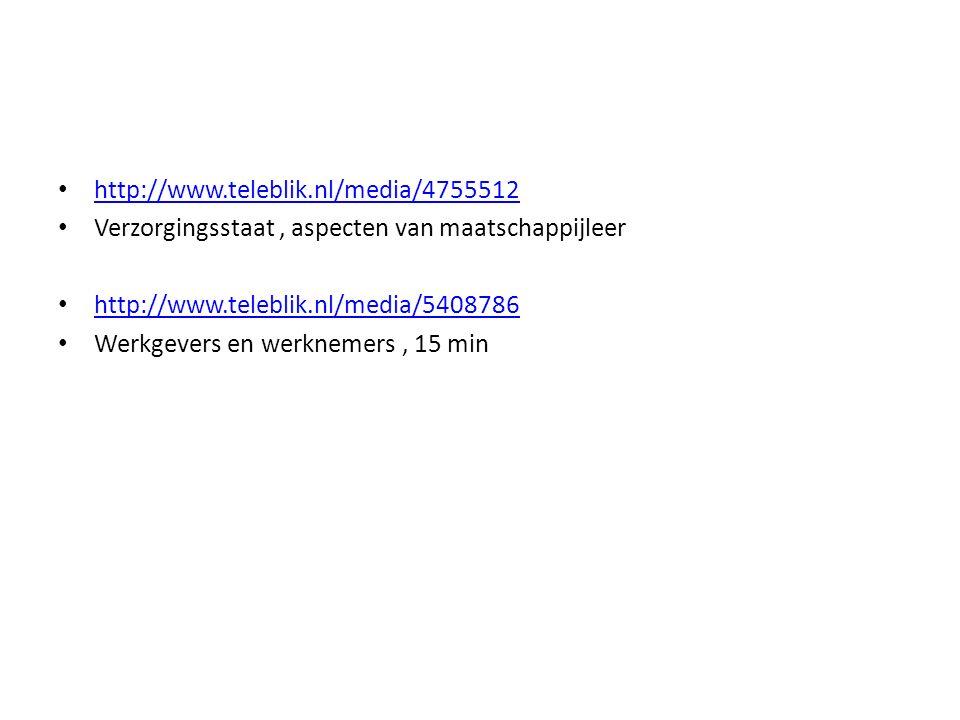 http://www.teleblik.nl/media/4755512 Verzorgingsstaat , aspecten van maatschappijleer. http://www.teleblik.nl/media/5408786.