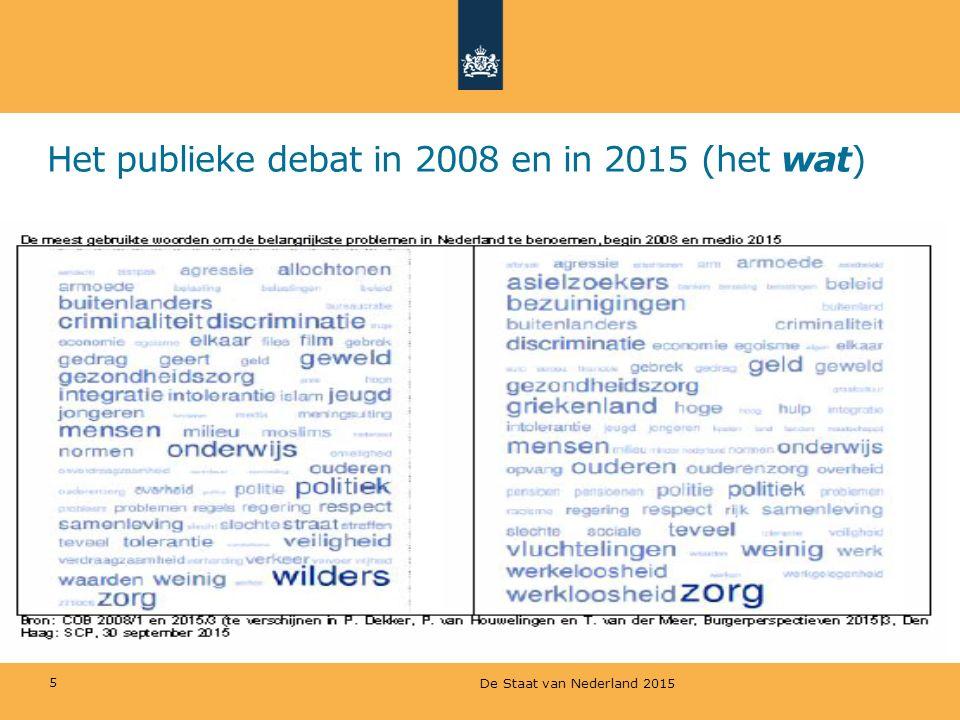 Het publieke debat in 2008 en in 2015 (het wat)