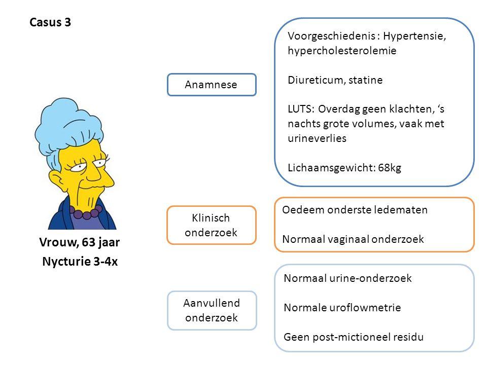 Casus 3 Vrouw, 63 jaar Nycturie 3-4x
