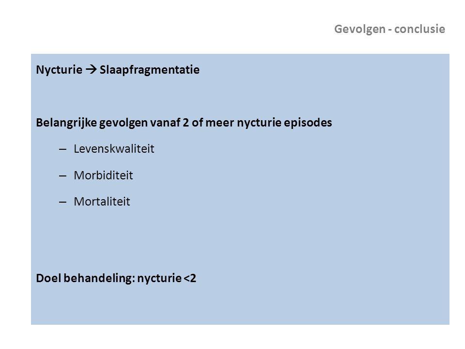 Gevolgen - conclusie Nycturie  Slaapfragmentatie. Belangrijke gevolgen vanaf 2 of meer nycturie episodes.
