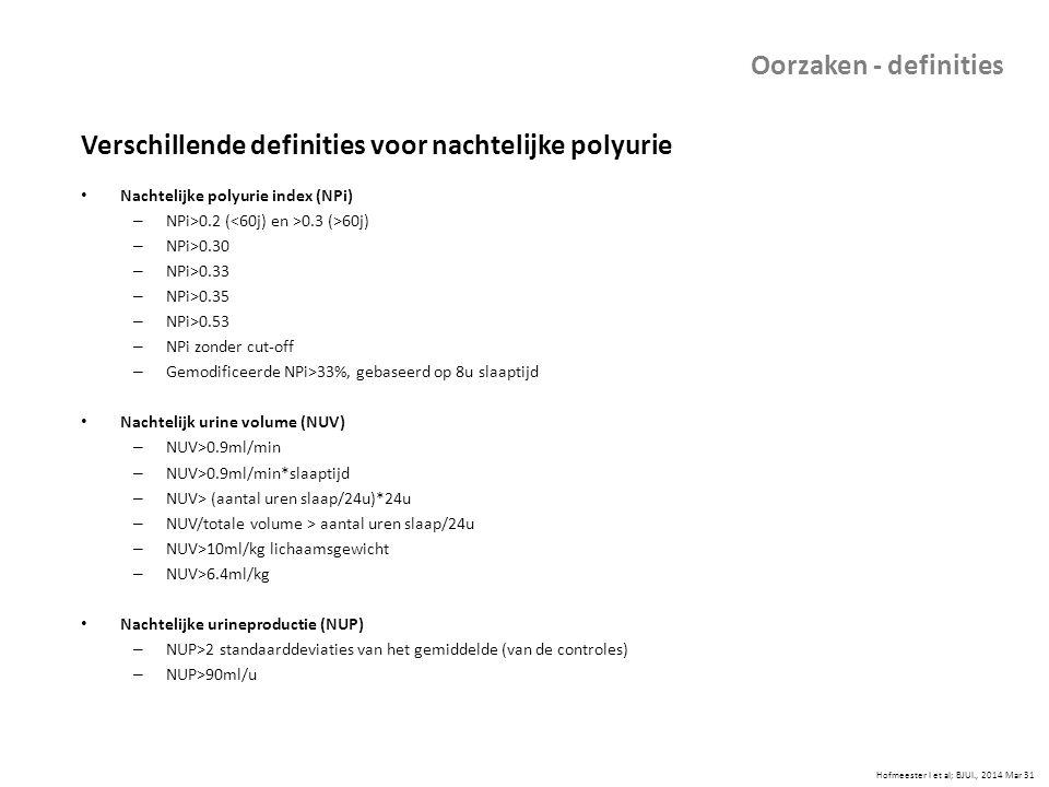 Verschillende definities voor nachtelijke polyurie