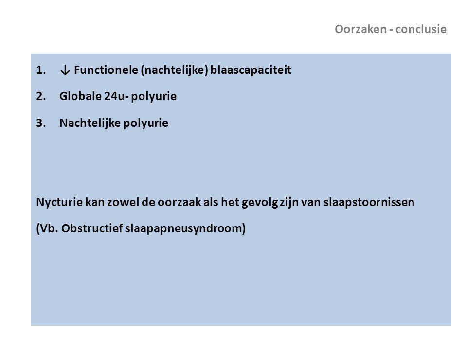 Oorzaken - conclusie ↓ Functionele (nachtelijke) blaascapaciteit. Globale 24u- polyurie. Nachtelijke polyurie.