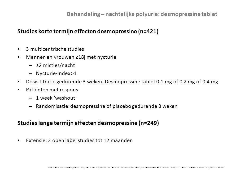 Behandeling – nachtelijke polyurie: desmopressine tablet