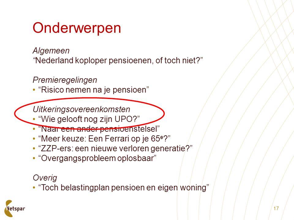 Onderwerpen Algemeen Nederland koploper pensioenen, of toch niet