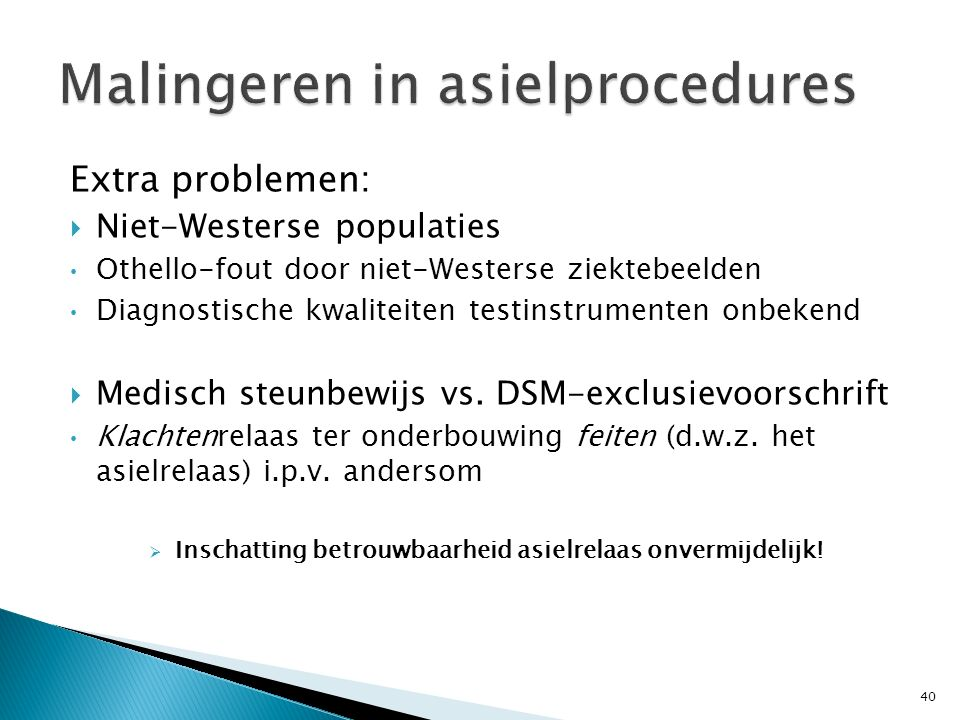 Malingeren in asielprocedures