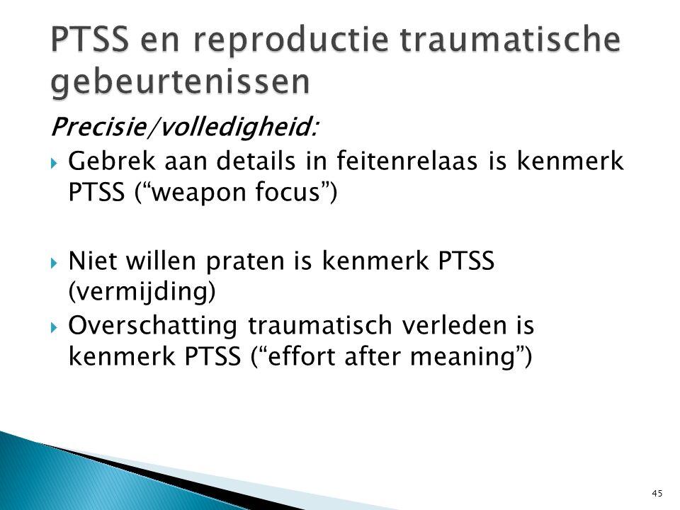 PTSS en reproductie traumatische gebeurtenissen