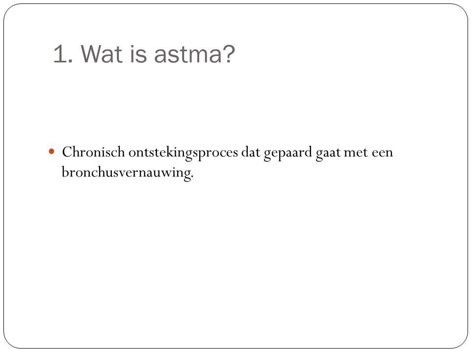 1. Wat is astma Chronisch ontstekingsproces dat gepaard gaat met een bronchusvernauwing.