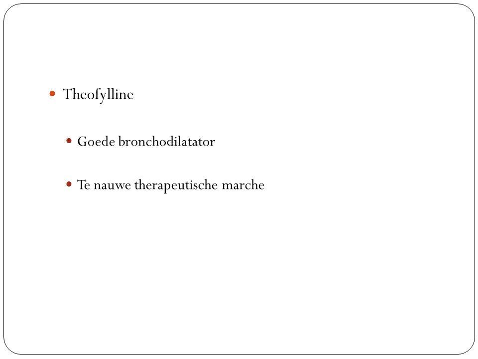 Theofylline Goede bronchodilatator Te nauwe therapeutische marche