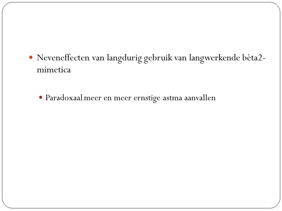 Neveneffecten van langdurig gebruik van langwerkende bèta2- mimetica
