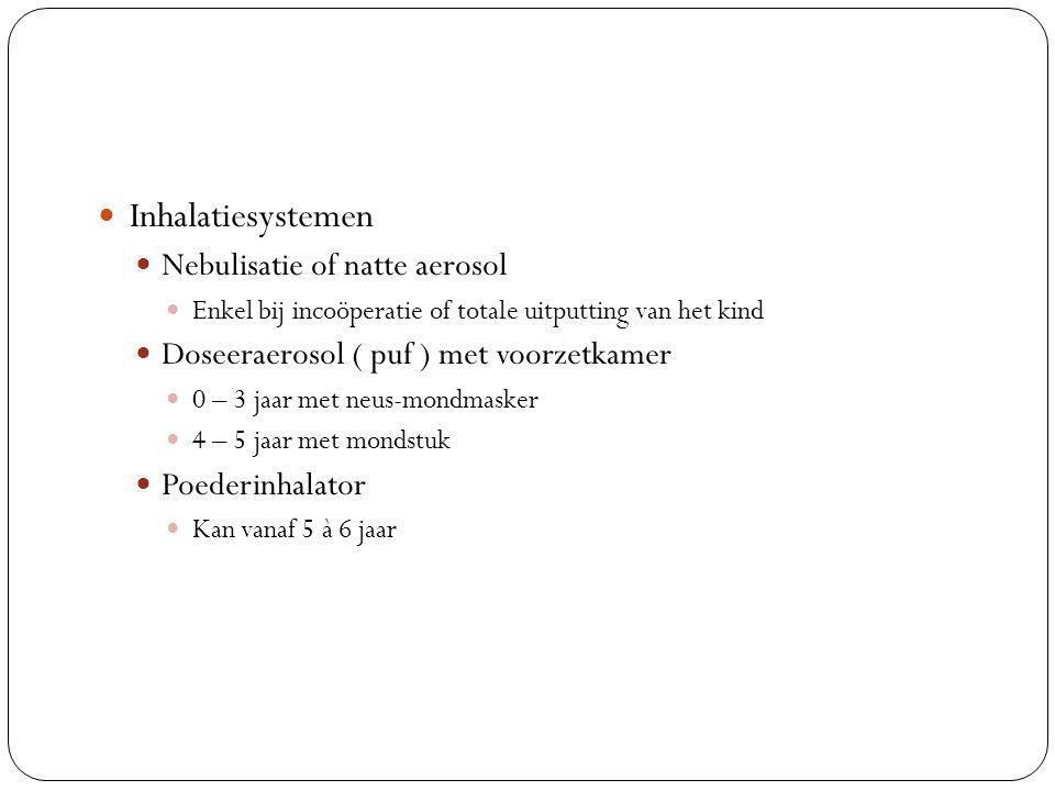 Inhalatiesystemen Nebulisatie of natte aerosol