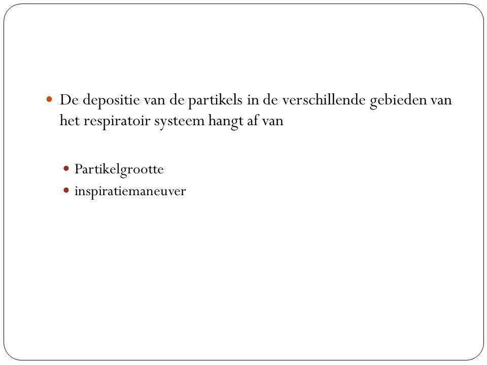 De depositie van de partikels in de verschillende gebieden van het respiratoir systeem hangt af van