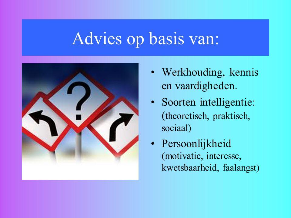 Advies op basis van: Werkhouding, kennis en vaardigheden.