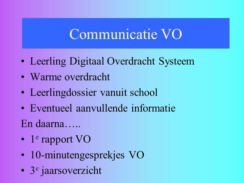 Overdracht naar het VO Communicatie VO