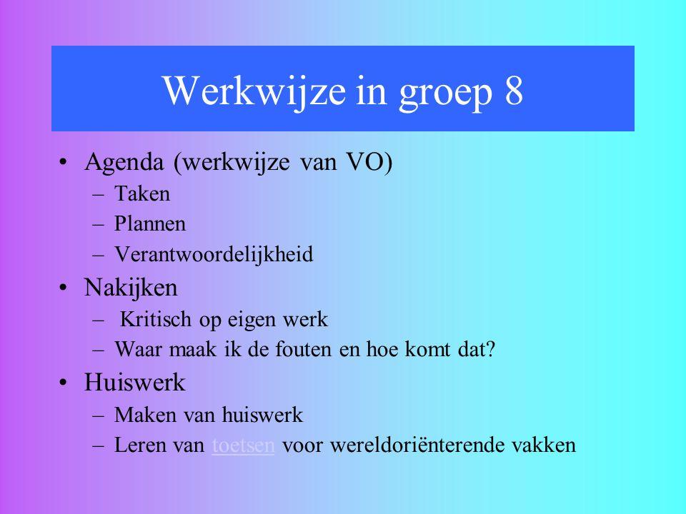 Werkwijze in groep 8 Agenda (werkwijze van VO) Nakijken Huiswerk Taken