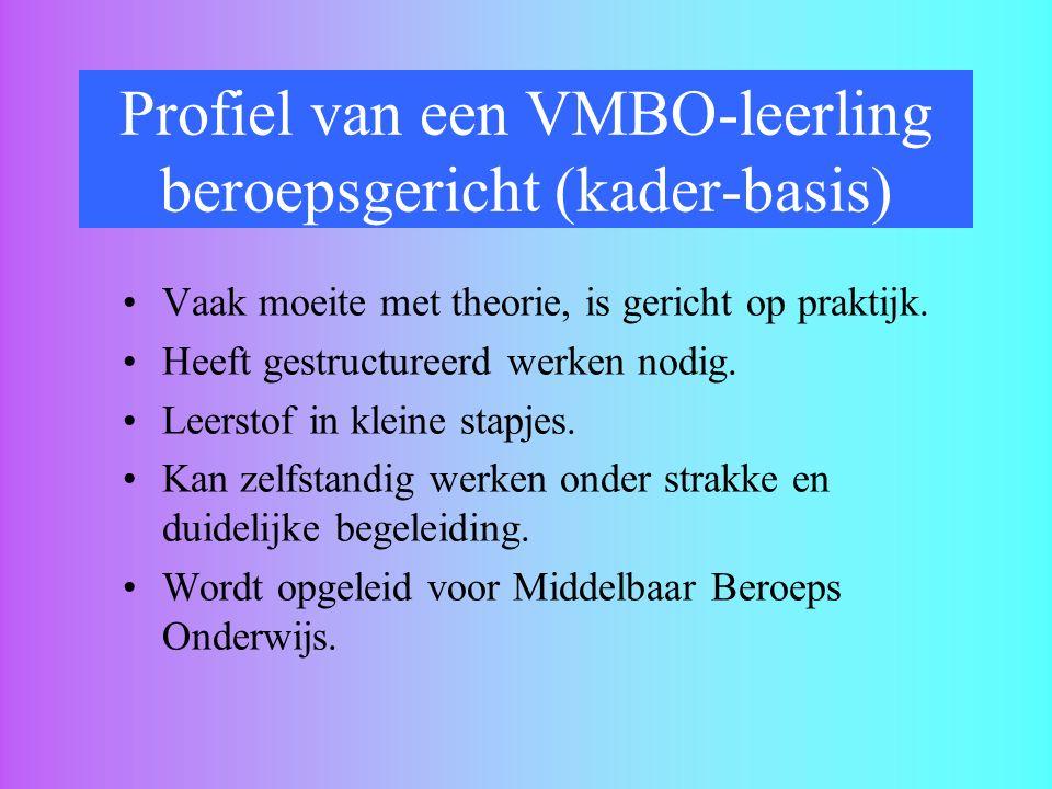 Profiel van een VMBO-leerling beroepsgericht (kader-basis)