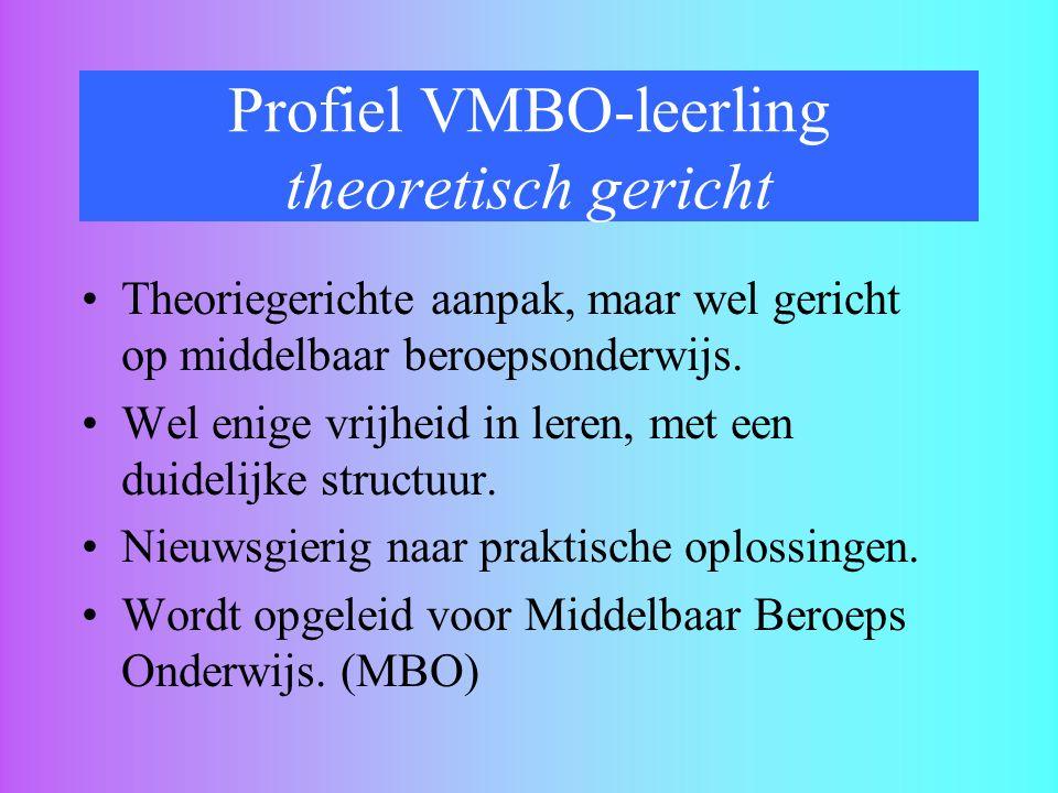 Profiel VMBO-leerling theoretisch gericht