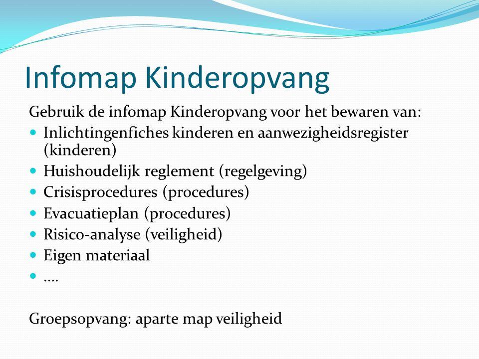 Infomap Kinderopvang Gebruik de infomap Kinderopvang voor het bewaren van: Inlichtingenfiches kinderen en aanwezigheidsregister (kinderen)