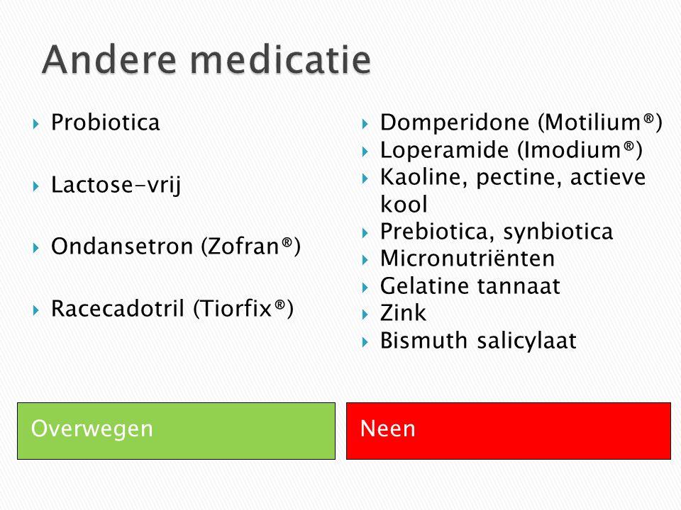 Andere medicatie Probiotica Lactose-vrij Ondansetron (Zofran®)