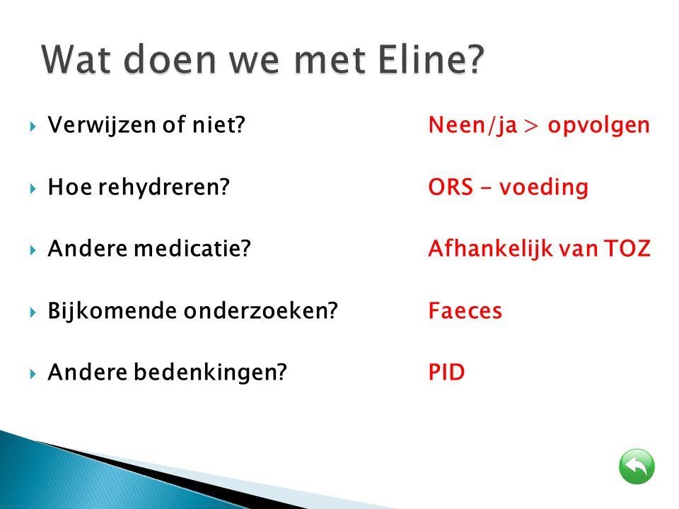 Wat doen we met Eline Verwijzen of niet Neen/ja > opvolgen