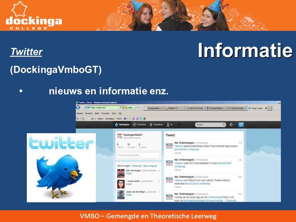 Informatie Twitter (DockingaVmboGT) • nieuws en informatie enz.