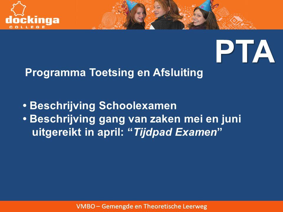 PTA Programma Toetsing en Afsluiting • Beschrijving Schoolexamen