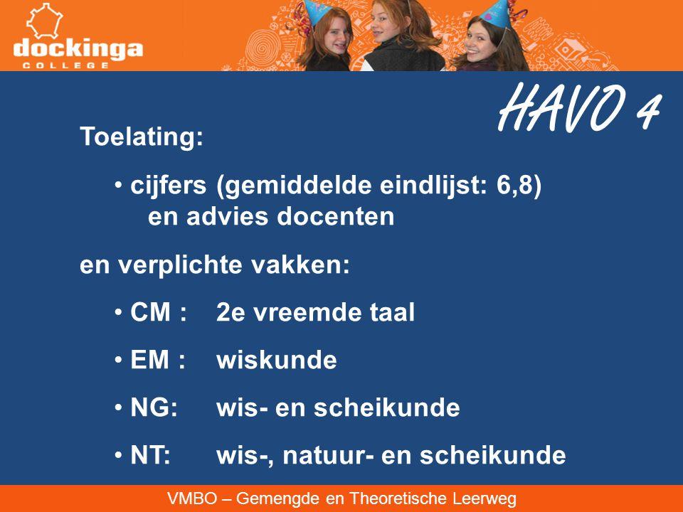 HAVO 4 Toelating: cijfers (gemiddelde eindlijst: 6,8) en advies docenten. en verplichte vakken: