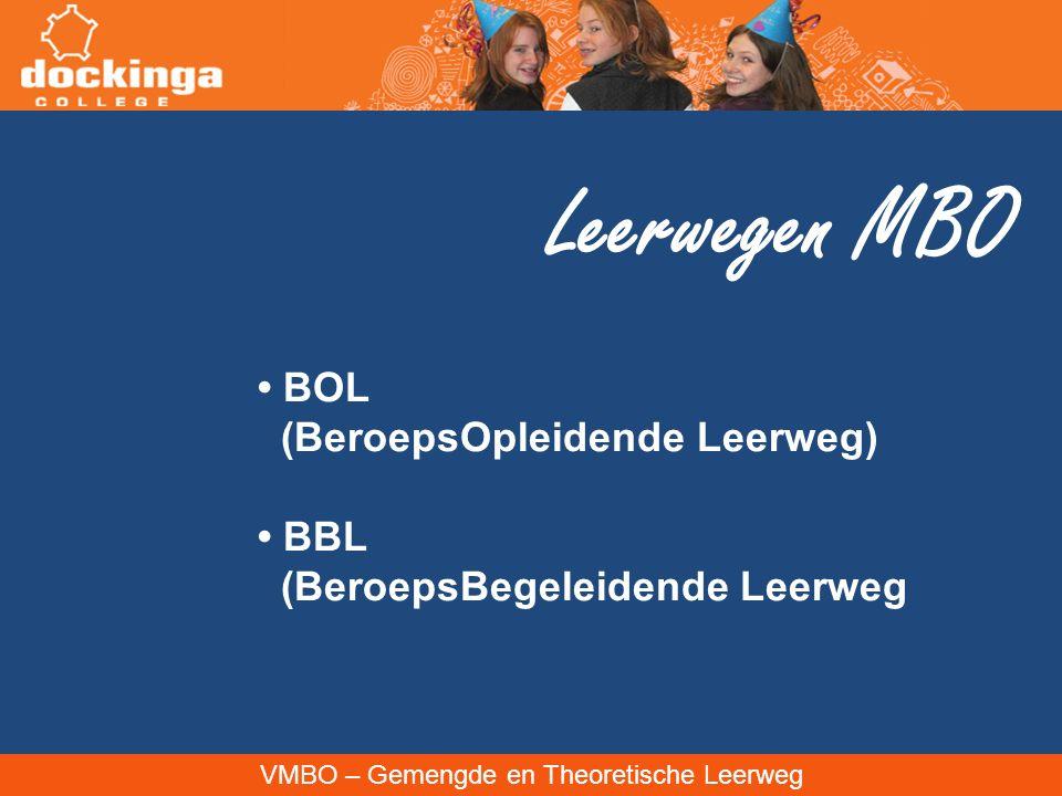 Leerwegen MBO • BOL (BeroepsOpleidende Leerweg) • BBL
