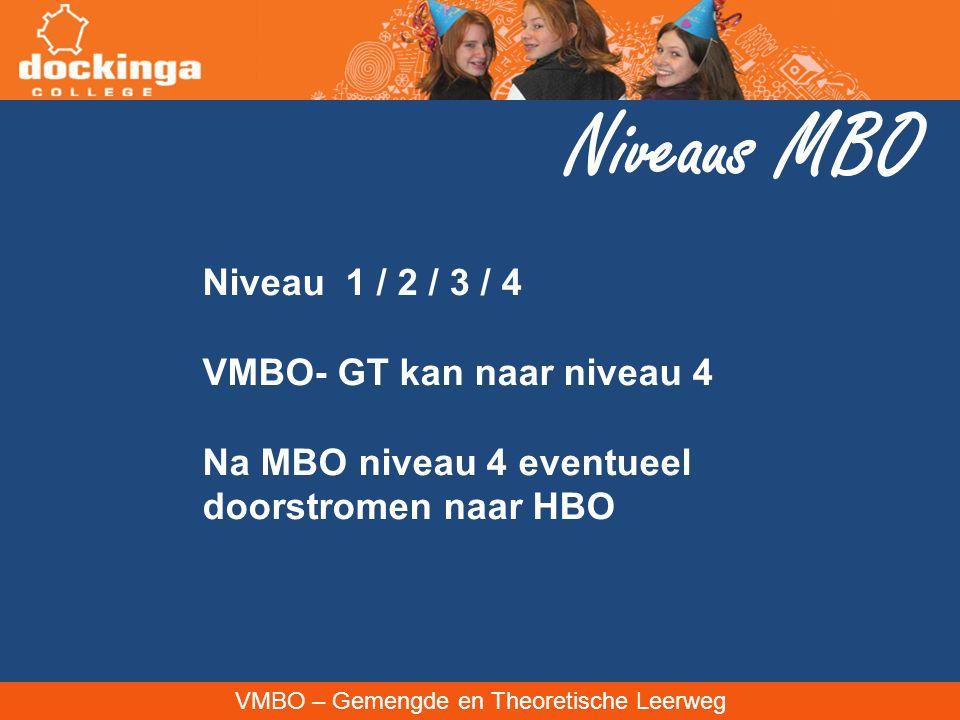 Niveaus MBO Niveau 1 / 2 / 3 / 4 VMBO- GT kan naar niveau 4