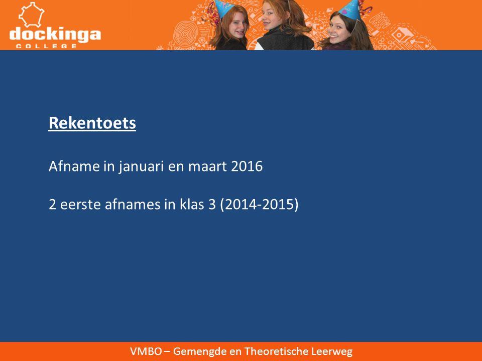 Rekentoets Afname in januari en maart 2016