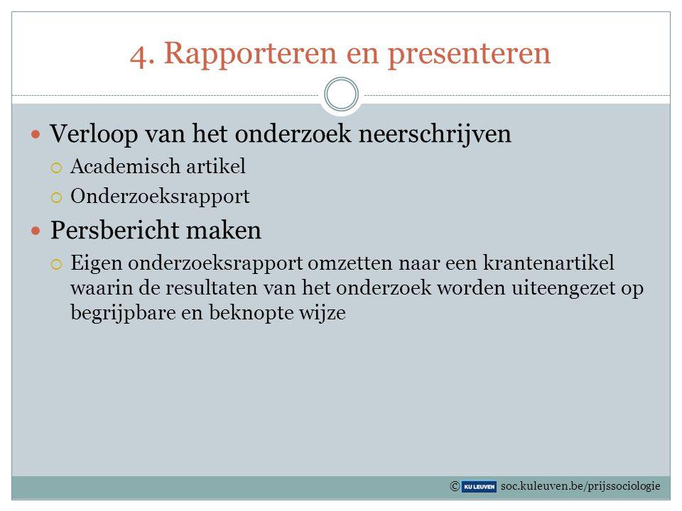 4. Rapporteren en presenteren