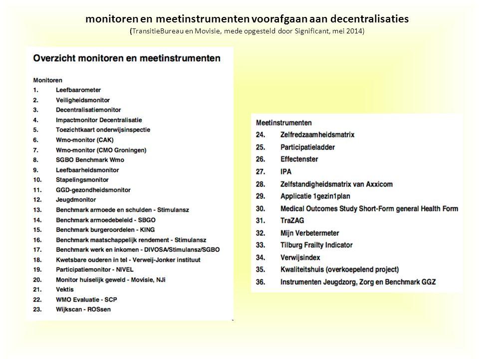 monitoren en meetinstrumenten voorafgaan aan decentralisaties (TransitieBureau en Movisie, mede opgesteld door Significant, mei 2014)