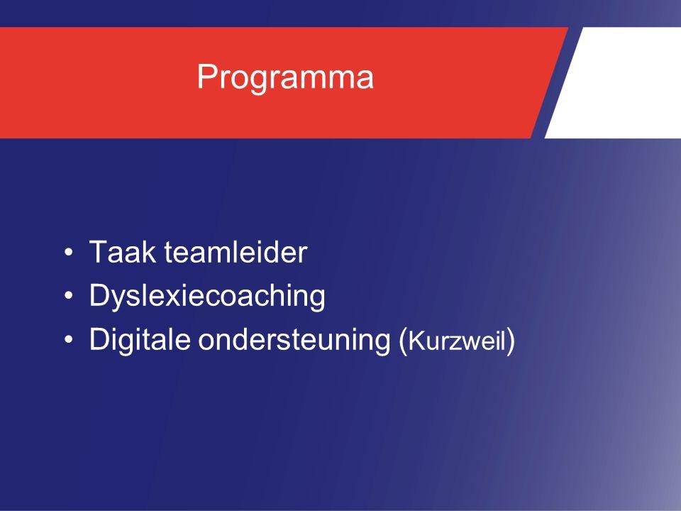 Programma Taak teamleider Dyslexiecoaching
