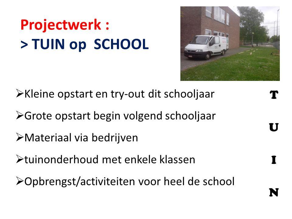 Projectwerk : > TUIN op SCHOOL T U I N