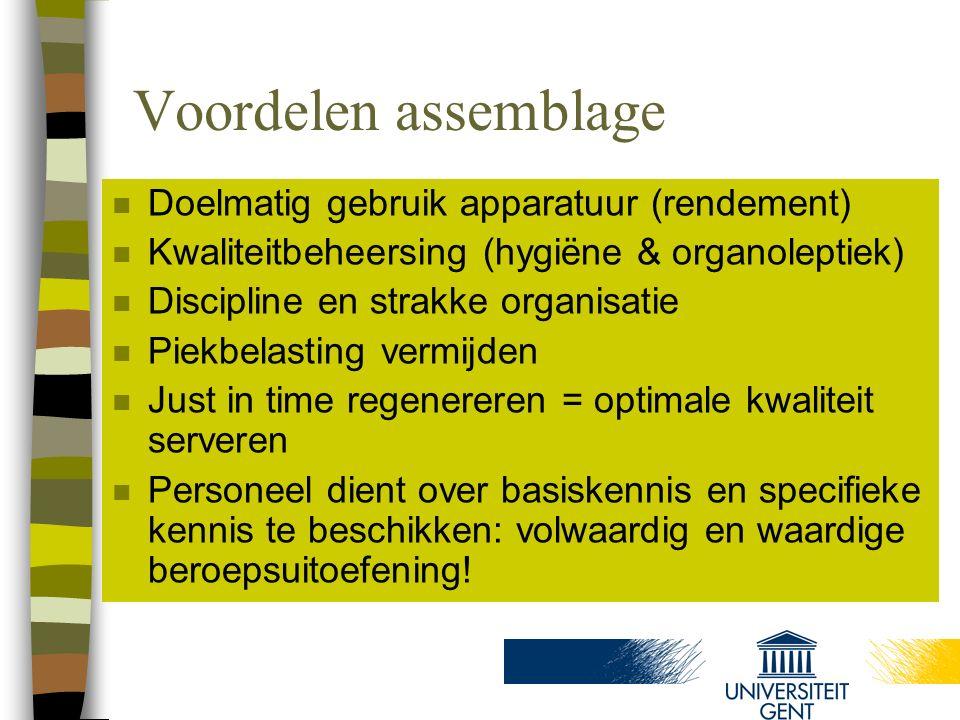 Voordelen assemblage Doelmatig gebruik apparatuur (rendement)