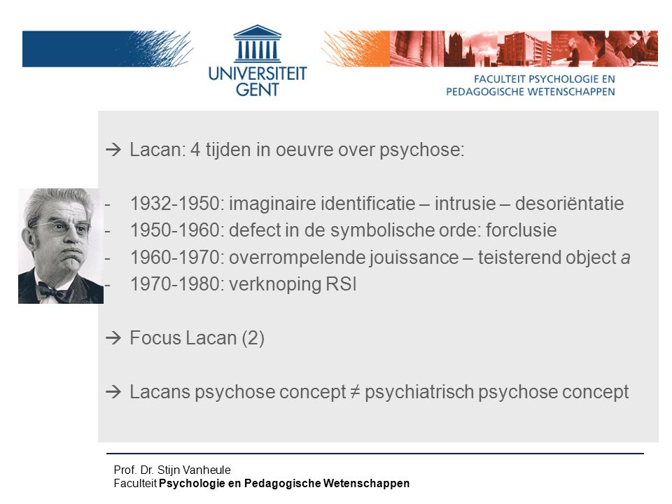 Lacan: 4 tijden in oeuvre over psychose:
