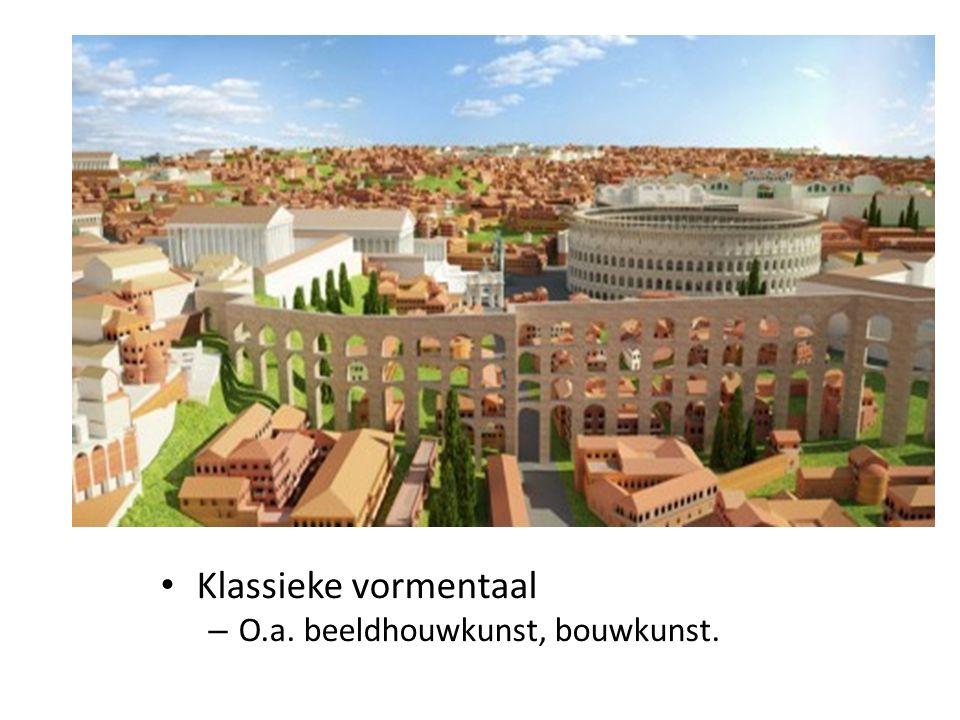 Klassieke vormentaal O.a. beeldhouwkunst, bouwkunst.