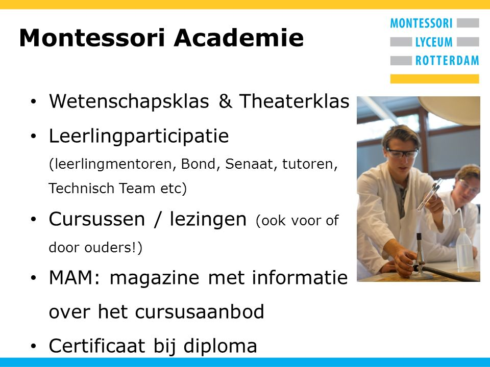 Montessori Academie Wetenschapsklas & Theaterklas