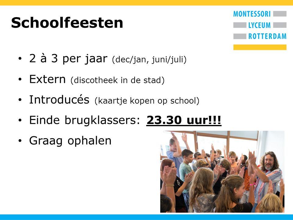 Schoolfeesten 2 à 3 per jaar (dec/jan, juni/juli)