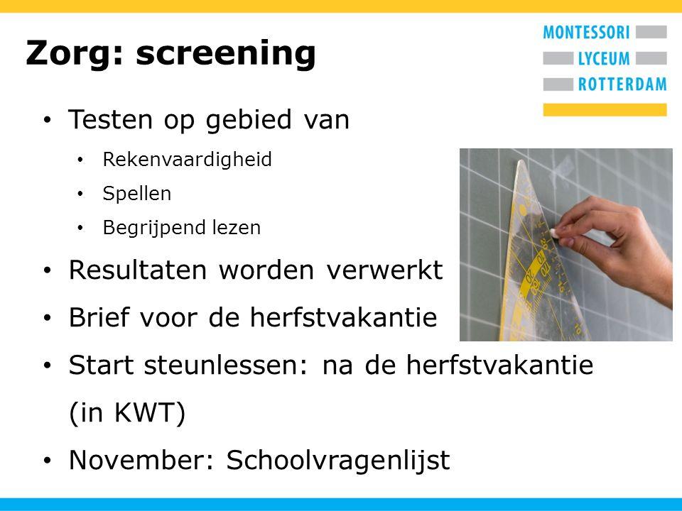 Zorg: screening Testen op gebied van Resultaten worden verwerkt