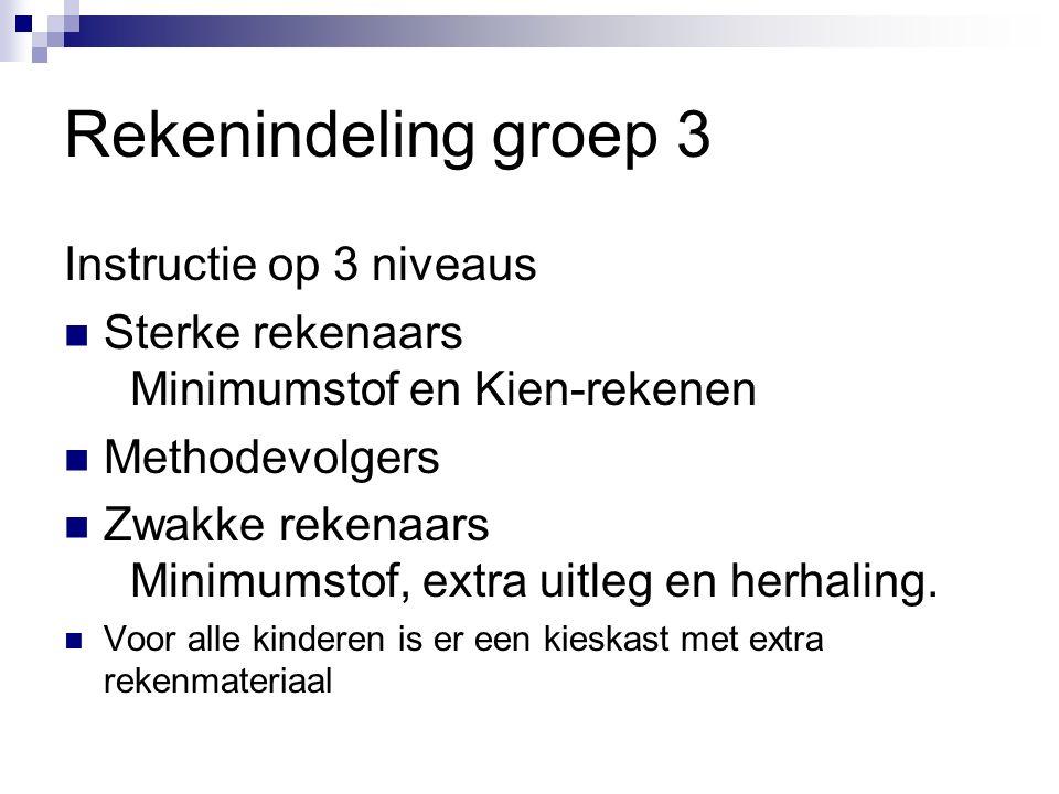 Rekenindeling groep 3 Instructie op 3 niveaus